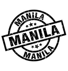 Manila black round grunge stamp vector