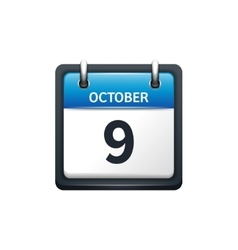 October 9 calendar icon flat vector