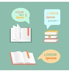 open book with speech bubbles clouds in vector image vector image