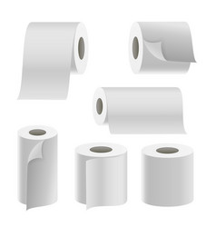 realistic paper roll set template blank vector image