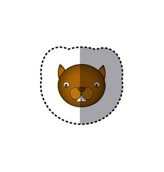 Small sticker colorful picture face cute squirrel vector