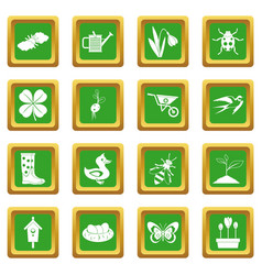Spring icons set green vector