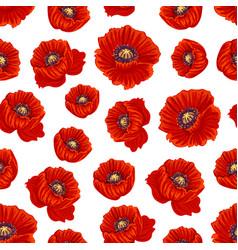 Spring poppy flower seamless pattern background vector