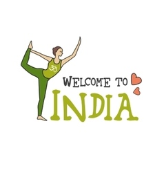 Welcome to india woman in a yoga pose vector
