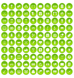 100 events icons set green circle vector