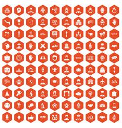 100 handshake icons hexagon orange vector
