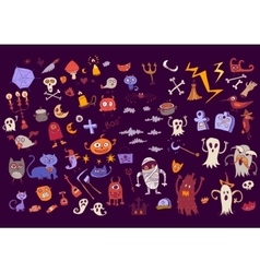 Halloween set of scary elements for holidays vector