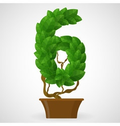 Green foliage houseplant alphabet figures vector