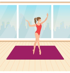 fitness beautiful girl trains in the hall vector image