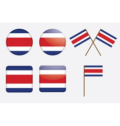 Costa rica flag badges vector