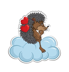 Hedgehog in love vector