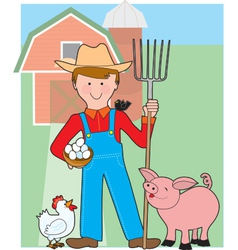 Farmer and pig vector