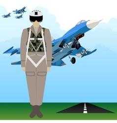 Military uniform force pilot vector