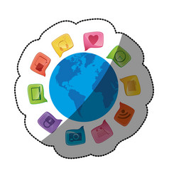 sticker world map globe with dialogue social icons vector image