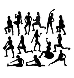 Fitness and gym sport activity silhouettes vector