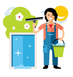 Window washer cleaning service flat style vector