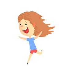 Happy smiling cartoon girl running kids outdoor vector