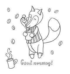 Cute cartoon fox in striped pajamas drinking vector