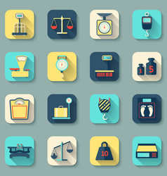Scales weight icons flat vector