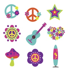 Hippie style art elements vector