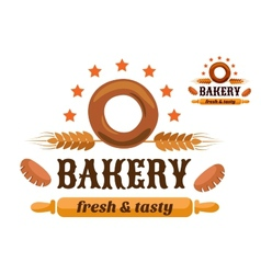 Brown and orange bakery emblem vector