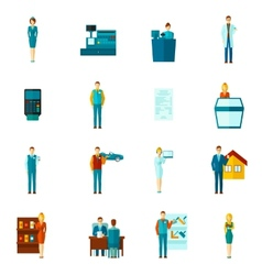 Salesman icons flat set vector