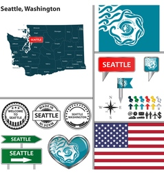 Seattle washington set vector