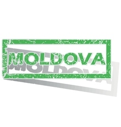 Green outlined moldova stamp vector