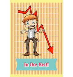Idiom saying in the red vector