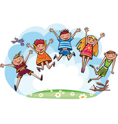 Jumping children vector