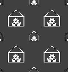 Frame with flower icon sign seamless pattern on a vector