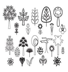 Tree set flowers plants trees vector