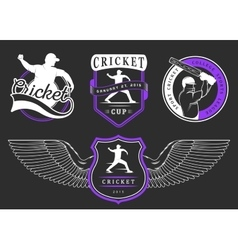 Set of badges cricket vector