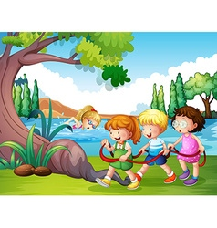 Three kids playing in the park vector
