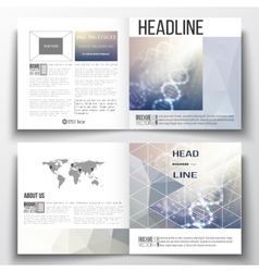 Set of square design brochure template dna vector