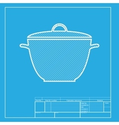 Saucepan simple sign white section of icon on vector