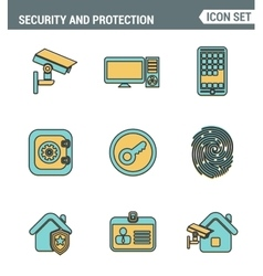 Icons line set of premium quality various security vector