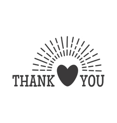 Thank you text badge vector