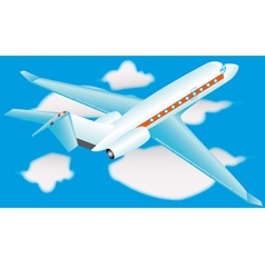 Airplane in a sky with clouds vector