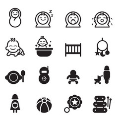 basic baby icons vector image