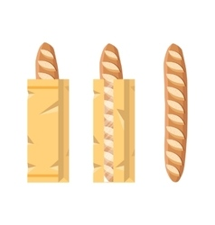Bread in a paper bag packed french baguette loaf vector