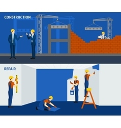 Building construction repair flat horizontal vector image