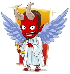 Cartoon red evil angel of hell vector image vector image