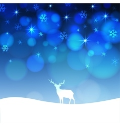 Christmas greeting card with winter landscape and vector image