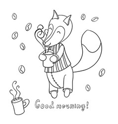 Cute cartoon fox in striped pajamas drinking vector