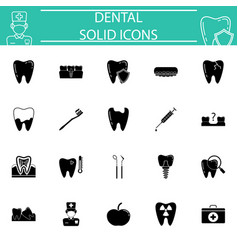 dental solid icon set vector image