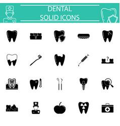 dental solid icon set vector image vector image