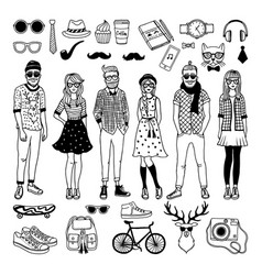 Funny hipster characters with funky fashioned vector