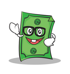 Geek face dollar character cartoon style vector