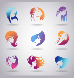 Girls portrait - silhouette icons vector